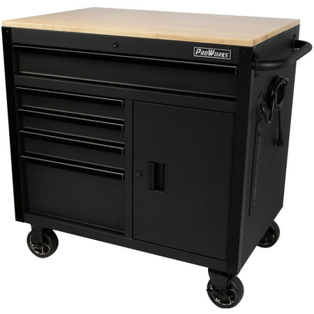 ProWorks 36-Inch W x 24.5-Inch D 5-Drawer 1-Door Mobile Tool Chest Workbench with Solid Wood Top, (Best Plywood For Workbench Top)