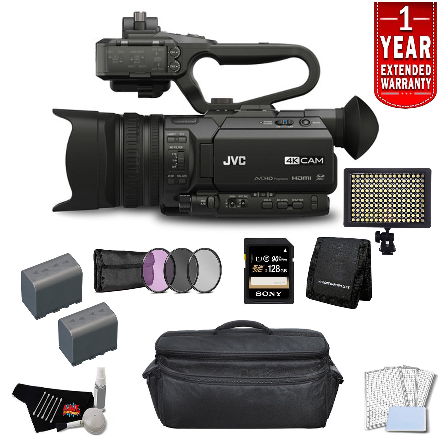JVC 4KCAM Compact Professional Camcorder with Top Handle Audio Unit Bundle with 1 Year Extended Warranty + 128GB Memory Card+ More