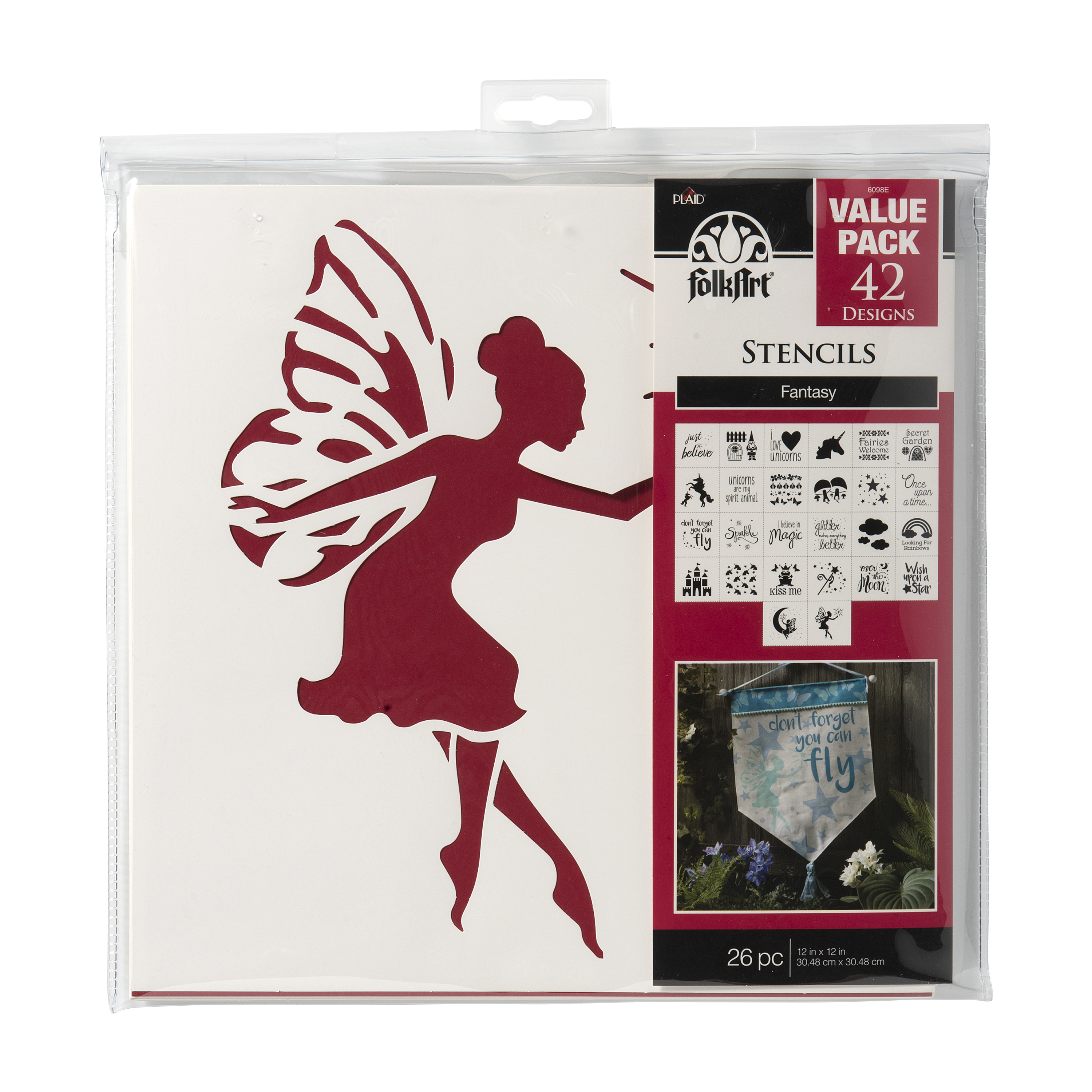 Folkart Paper Stencil Value Pack Fantasy 12X12, 26Pc
