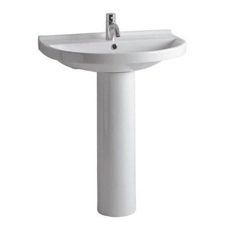 Pedestal Sink in White with Chrome Overflow