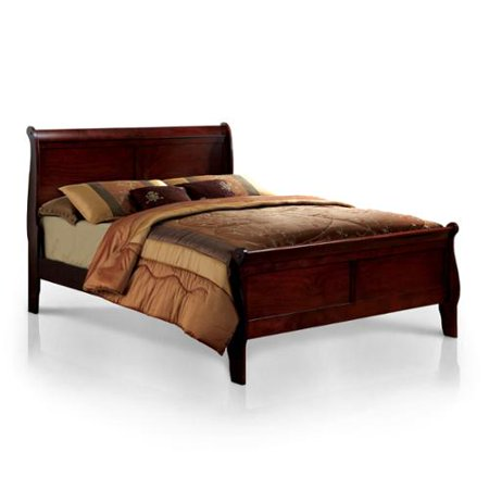 Furniture of America  Mayday II Paneled Cherry Sleigh Bed 3 Piece Cherry Sleigh Bed