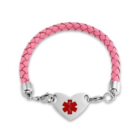 Heart Shape Pink Leather Medical Identification Doctors Engravable Medical Alert ID Bracelet For Women Stainless (Engravable Medical Id Bracelet)