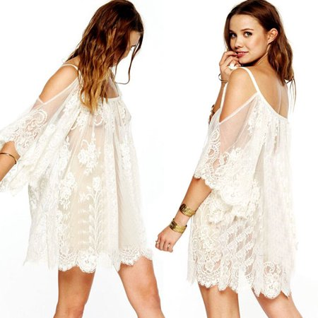 Vintage Hippie Boho People Embroidered Floral Lace Crochet Mini Dress
