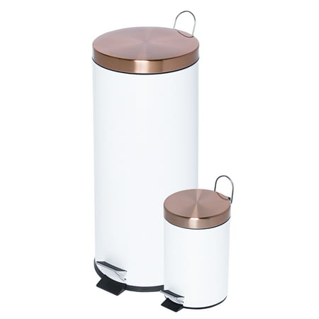 Honey Can Do 30L & 3L Steel Round Trash Can Combo, Multicolor