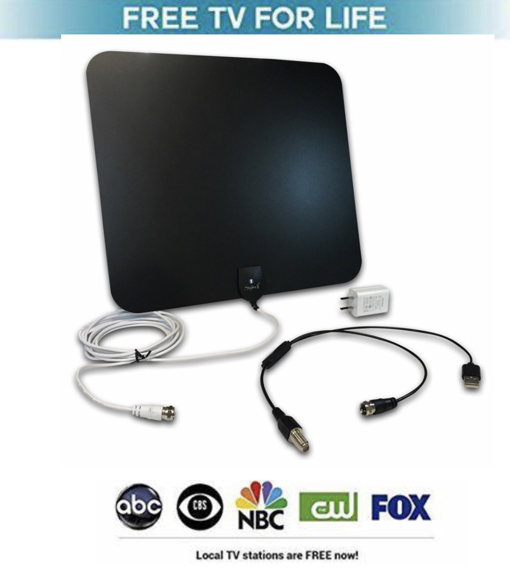 Styles II Super Thin Indoor HD TV Antenna - 50 Mile Range with Detachable Amplifier Signal Booster and 10ft High-Performance Coax Cable - Upgraded Version Better Reception