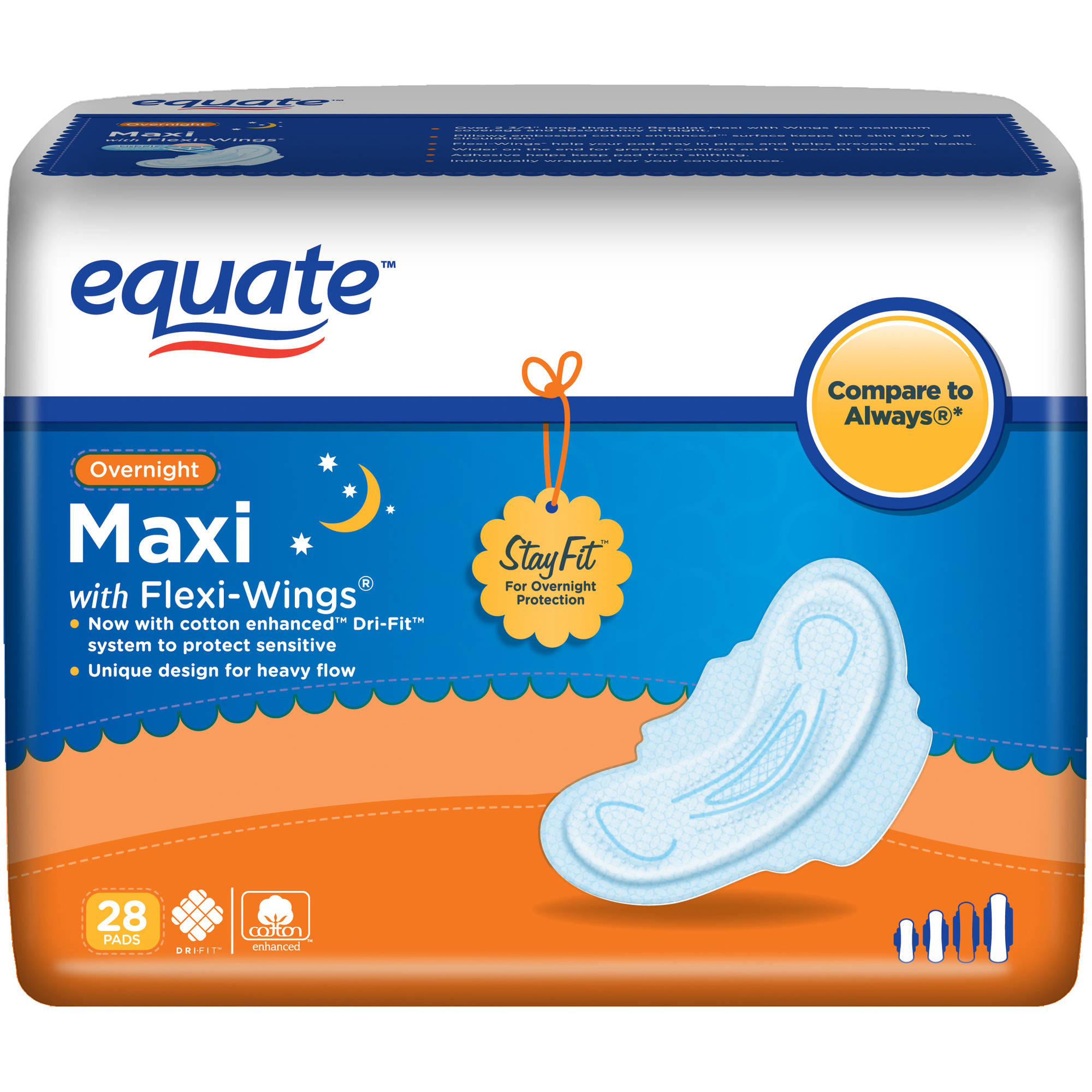 Equate Maxi Pads Overnight with Wings, 28 count