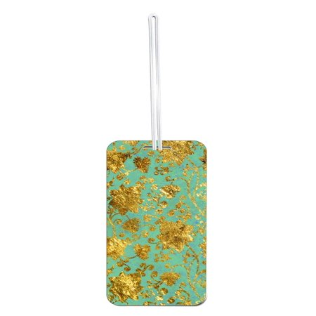 (Accessory Avenue Gold Foil Print Flowers on Mint Grunge- Large Hard Plastic Double Sided Luggage Identifier Tag)