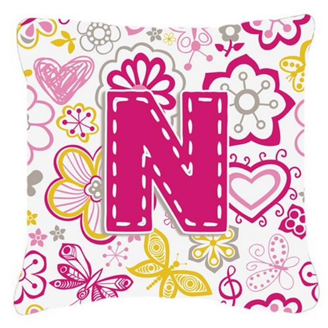 Carolines Treasures CJ2005-NPW1414 Letter N Flowers And Butterflies Pink Canvas Fabric Decorative Pillow - image 1 de 1