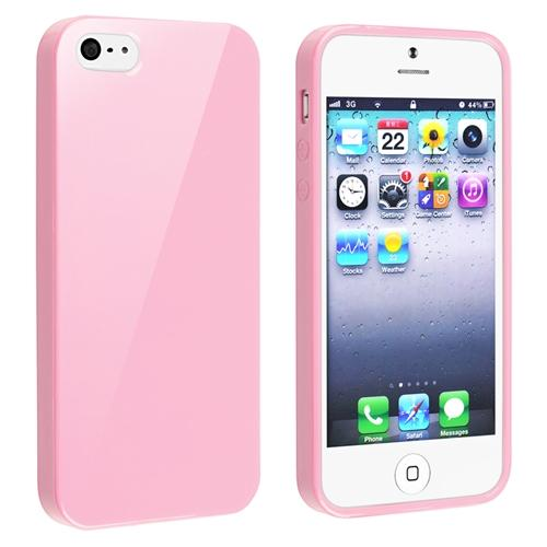 Insten TPU Rubber Skin Case For Apple iPhone SE / 5 / 5s, Light Pink Jelly