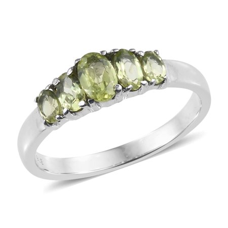 Created Peridot Stainless Steel Ring - Stainless Steel Oval Peridot Statement Ring for Women Cttw 1.1 Jewelry Gift