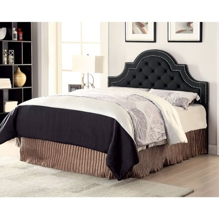 Coaster Home Furnishings Ojai Modern Traditional Camel Back Tufted Upholstered Headboard with Double Row Chrome Nailheads - Full / Queen - Charcoal Fabric