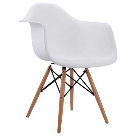 Gymax White Modern Molded Plastic Dining Arm Side Chair Wood Legs