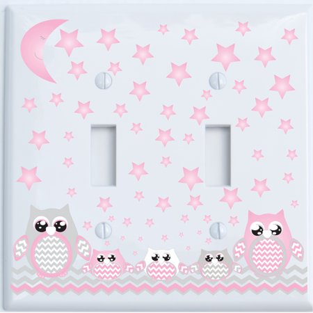 Grey and Pink Owl Double Toggle Light Switch Plate Covers / Owl Nursery Decor (Double Toggle Pink Owl) - Walmart.com