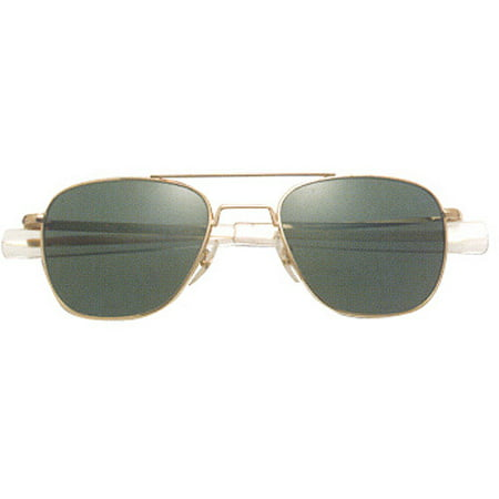 ca724f1e72fb7 AO Original Pilot Sunglasses with Gold Bayonet Temples and True Color Green  Glass Lenses