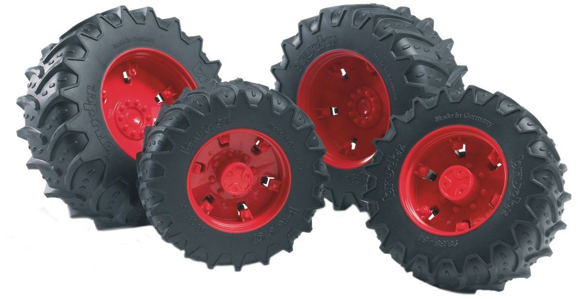 Twin Tractor Tires (Red) Vehicle Toy by Bruder Trucks (03313) by Bruder Trucks