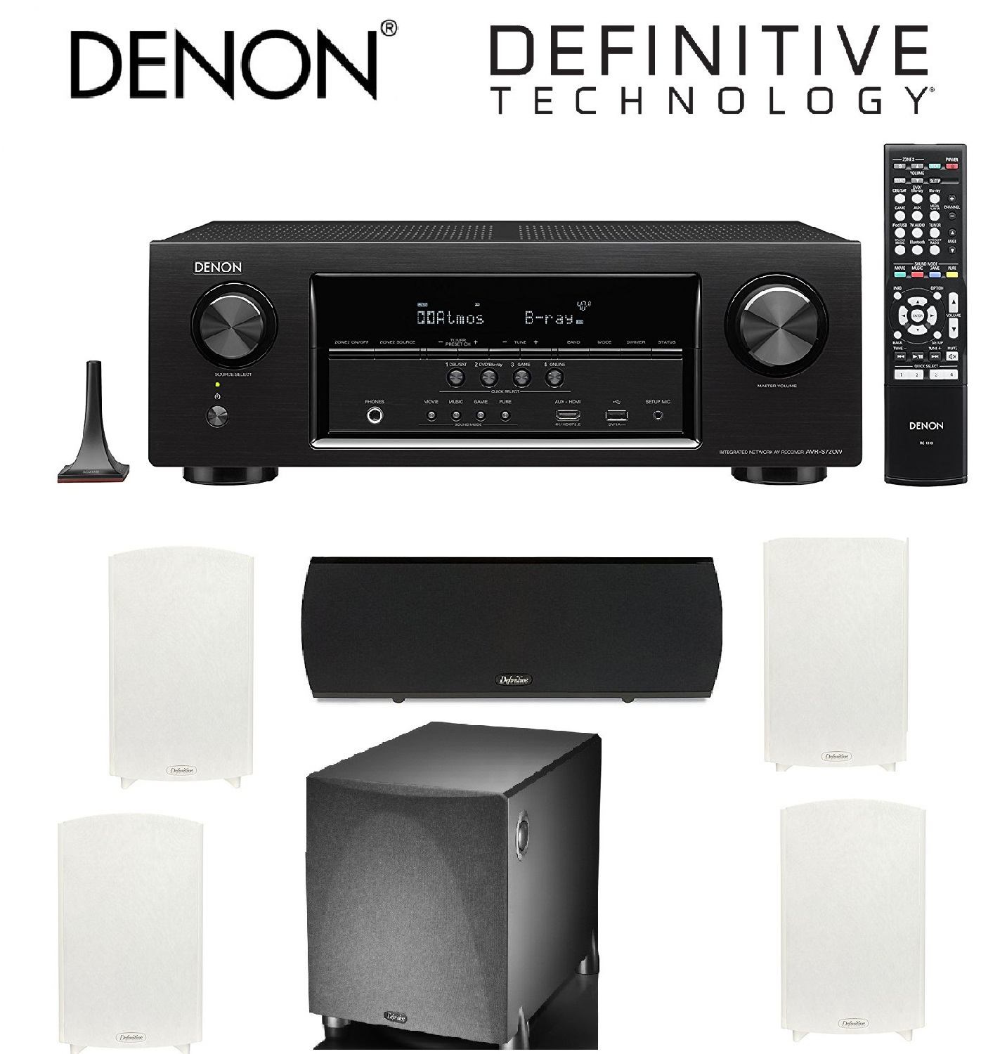 Denon AVR-S720W 7.2 Channel Full 4K Ultra HD AV Receiver with Built-In Wi-Fi and Bluetooth + 2 Pairs of Definitive... by Denon