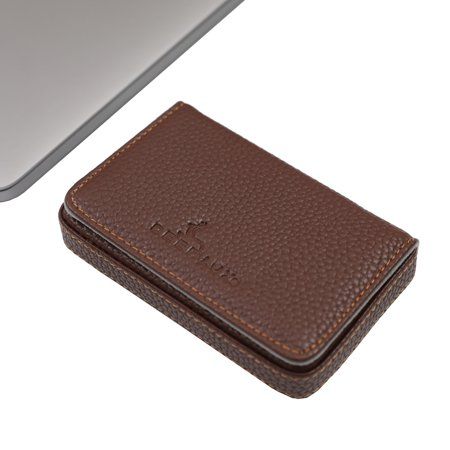 Brown Leather Card Case, Small Leather Wallet Card Holder with Magnetic Closure