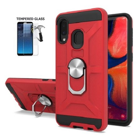 """For Straight Talk Samsung Galaxy A10e / Tracfone Samsung Galaxy A10e Smartphone / Samsung Galaxy A10e (Not Fit A10 6.2""""""""), Shock-Resistant Matte Cover Ring Stand Case + Tempered Glass (Red) -  Premium Wireless Accessories"""