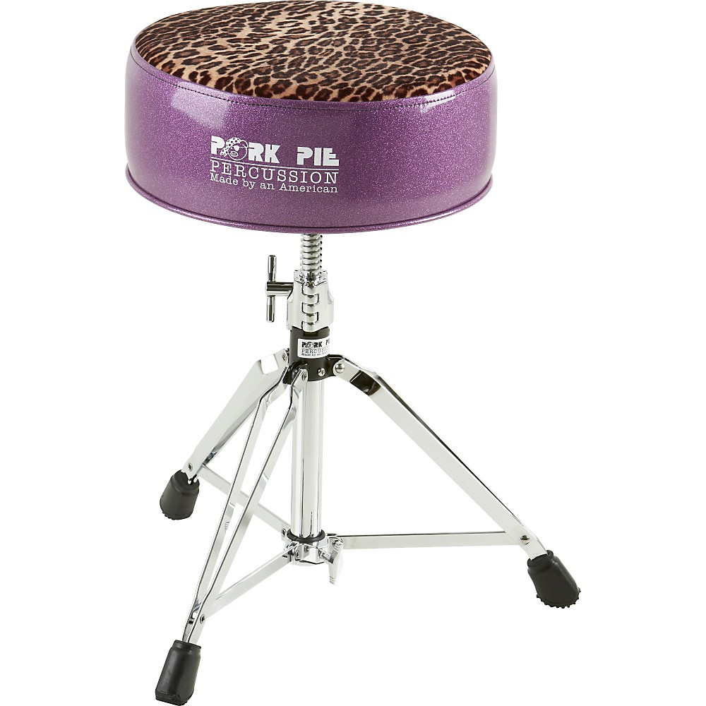 Pork Pie Round Drum Throne Purple with Leopard Top by Pork Pie