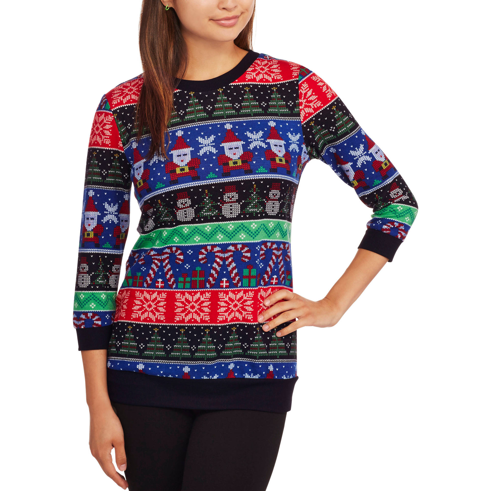 No Boundaries Juniors' Christmas Tunic Pullover Sweaters