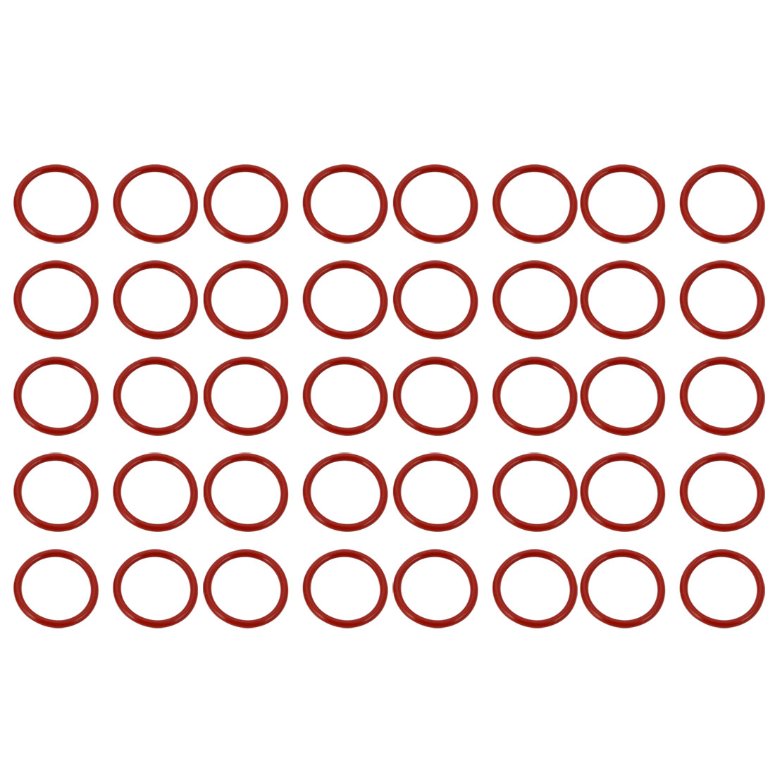 40pcs Red 17mm Outer Dia 1.5mm Thickness Sealing Ring O-shape Rubber Grommet - image 2 of 2