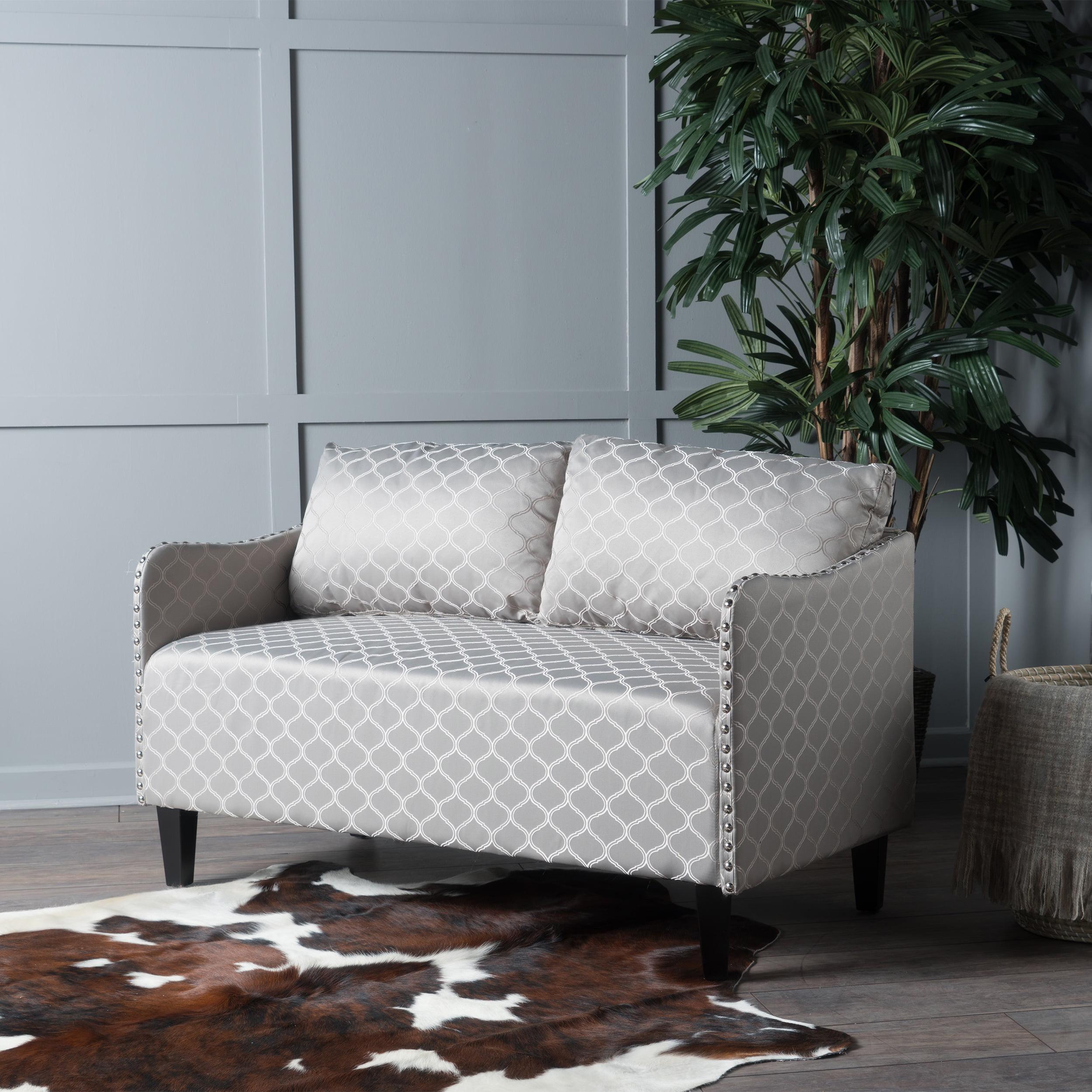 Noble House Adele Geometric Fabric Loveseat, Grey