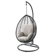 ACME Simona Patio Swing Chair in Beige and Black
