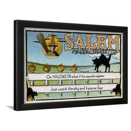 Salem, Massachusetts - Halloween Greeting - Cat on Fence - Vintage Artwork Framed Print Wall Art By Lantern Press