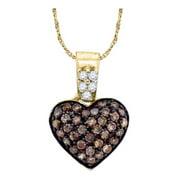 Chocolate Brown 10K Yellow Gold Fine Diamond Heart Necklace Pendant 3/8 Ctw