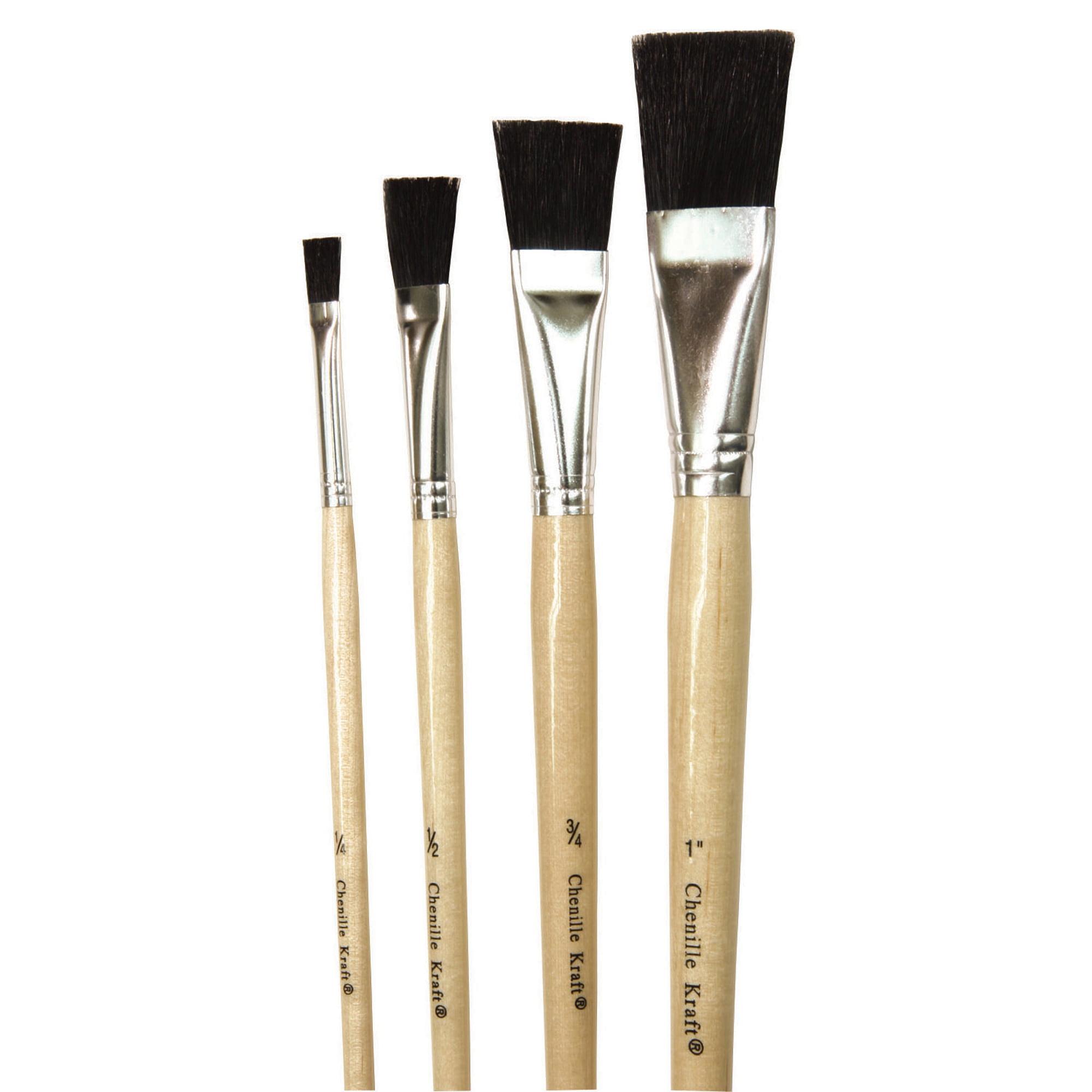 "Easel Brush, Black Bristle, 1/4, 1/2, 3/4 & 1"" - 4 per pack, 10 packs"