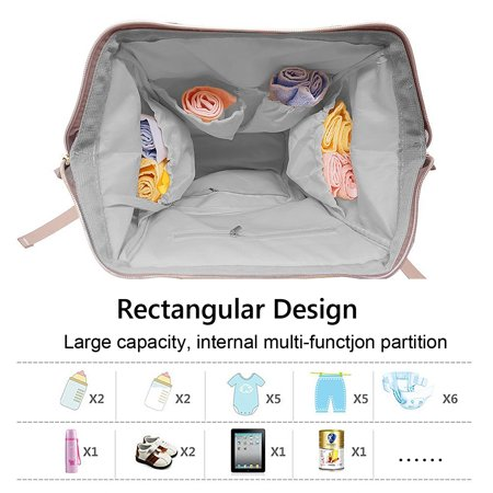 Backpack Diaper Bag with USB Interface Large Baby Diaper Nappy Multifunctional Bagpack Shoulder Bags Outdoor Waterproof - image 1 de 9