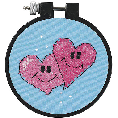 "Dimensions Learn-a-Craft a Pair Of Hearts Stamped Cross Stitch Kit, 3"" round"
