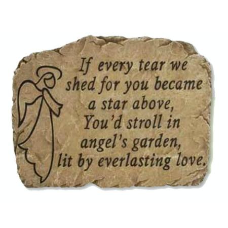 """10.5"""" Slate-Look Inspirational Angel Memorial Decorative Outdoor Patio Garden Stone"""