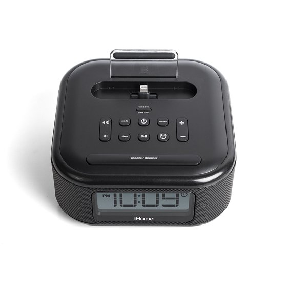 iHome iPL23 Stereo FM Clock Radio with Lightning Dock Charge Play for  iPhone 5 5S 6 6Plus 7 7Plus USB Charge USB Device - Black