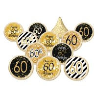 60th Birthday Party Favor Stickers - Gold and Black (Set of 324)