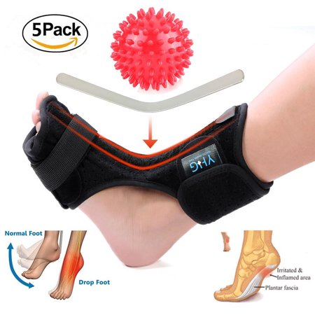 Yosoo 5pcs Adjustable Plantar Fasciitis Night Stretching Splint Boot Foot Brace Support with Spiky Massage Ball for Foot Pain