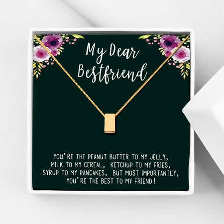 Anavia Best Friend Necklace, Friendship Jewelry, Best Friend Gifts, Gift for Friend, Birthday Gift, Christmas Gift for Her, Cube Pendant Necklace with Wish Card -[Gold Charm]
