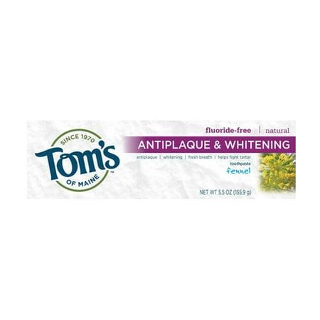 Toms du Maine Antiplaque Et Dentifrice blanchissant, Fenouil - 5.5 Oz, 6 Pack