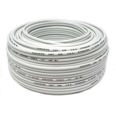 12 Gauge 100 Feet White Speaker Wire Zip Cable Copper Clad Car Stereo