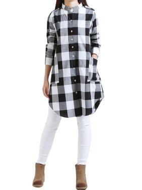 Babula Women Long Sleeve Button Down Plaid Check Shirt Tunic Mini Dress