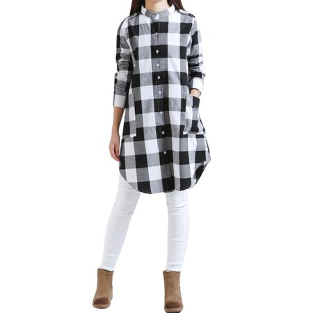 Babula Women Long Sleeve Button Down Plaid Check Shirt Tunic Mini Dress