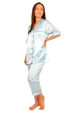 Up2date Fashion's Women's Cropped Pants Pajamas with Short Sleeve Tops