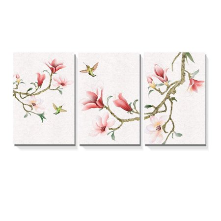"wall26-3 Panel Canvas Wall Art - Watercolor Painting Style Magnolia and Birds - Giclee Print Gallery Wrap Modern Home Decor Ready to Hang - 16""x24"" x 3 Panels"