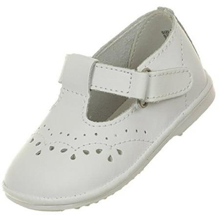 BNY Corner Baby Girls Angel T Strap Mary Jane Toddler Christening Baptism Infant Dress Shoes White 6 Toddler TR 29.45