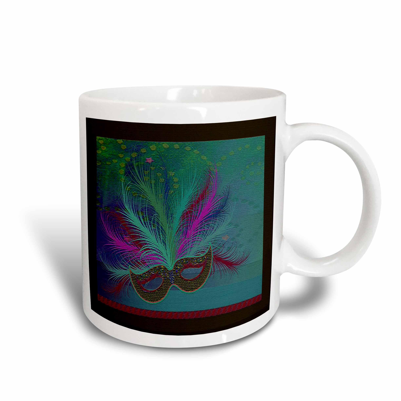 3dRose Mardi Gras Mask, Aqua, Ceramic Mug, 11-ounce