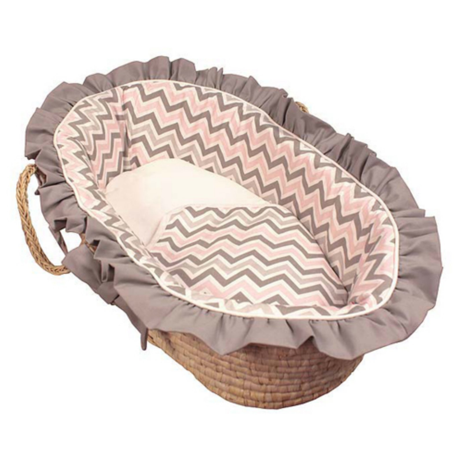 Hoohobbers Chevron Pink Moses Basket - Ruffled