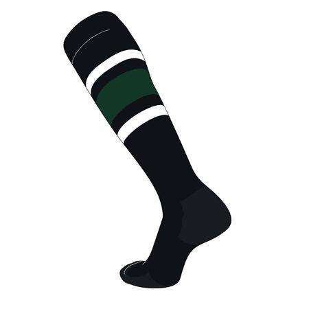 TCK Elite Baseball Football Knee High Striped Socks (E) Black, White, Dk Green White Football Baseball