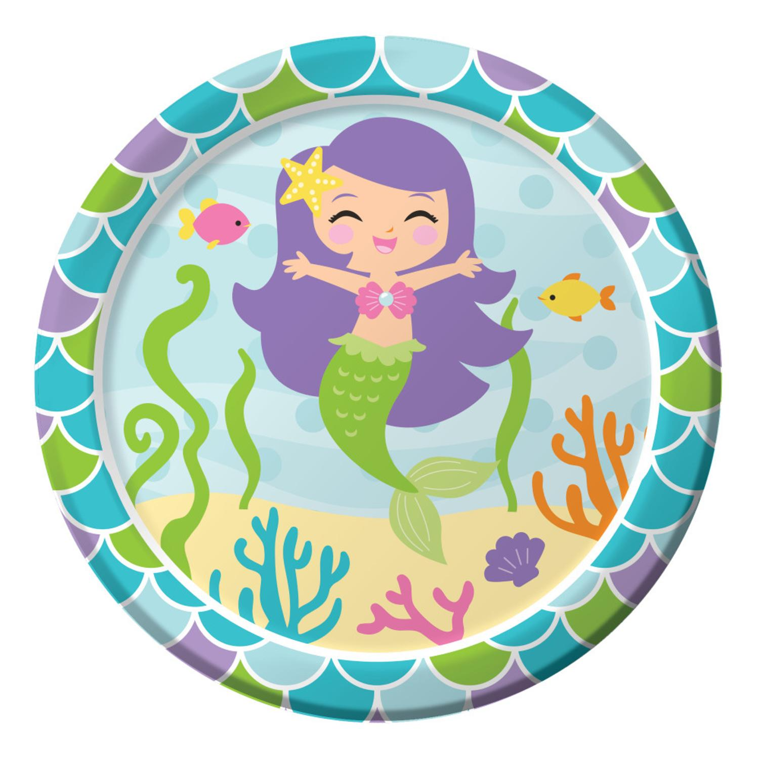 """Club Pack of 96 Mermaid Friends Paper Party Disposable Lunch Plates 7"""""""