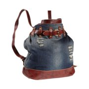 Amerileather Damian Ripped Denim/Brown Leather Backpack