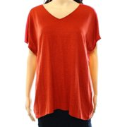 Eileen Fisher NEW Red Women's Size Medium M V-Neck Contrast Box Knit Top $188